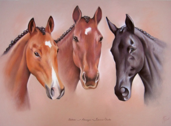 Three Horses Portrait Painting
